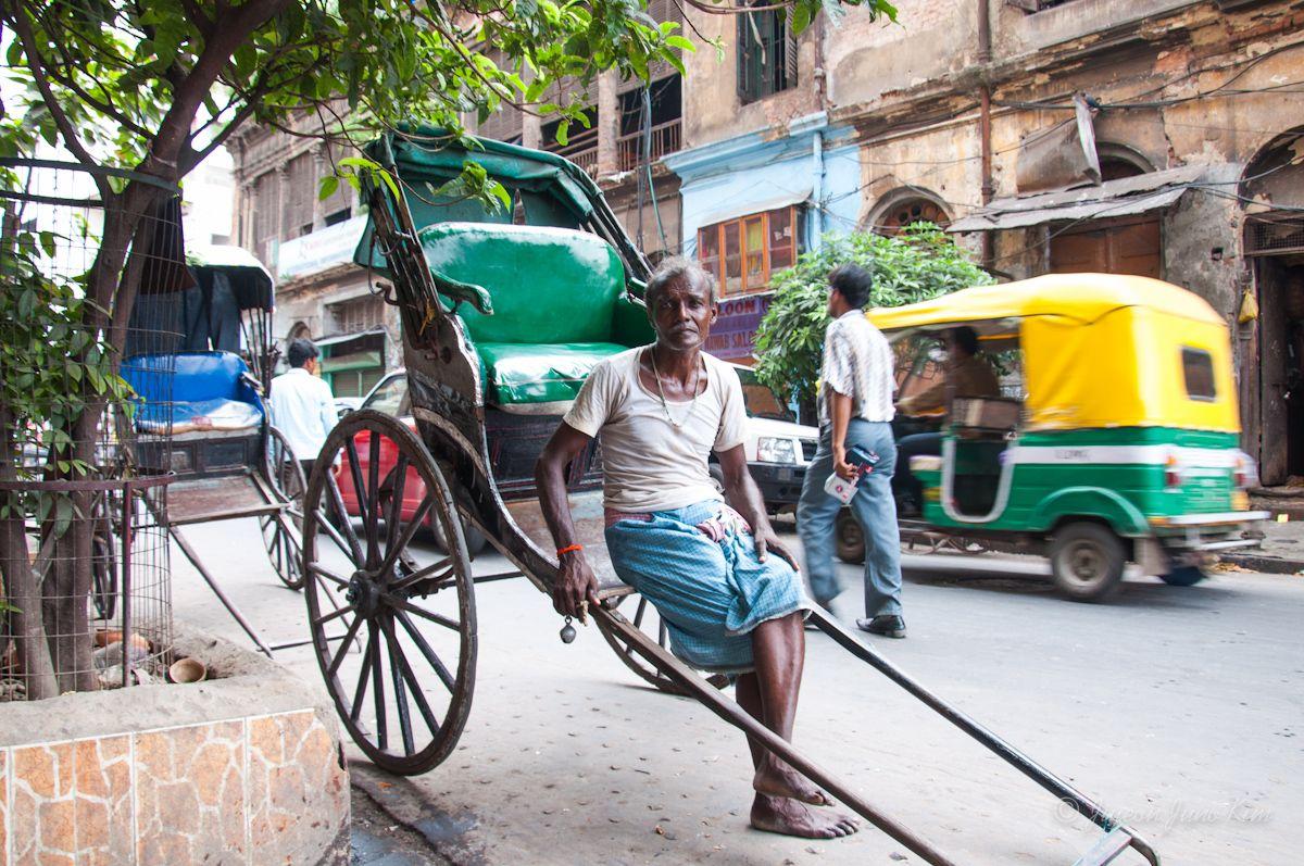 Pulled Rickshaw Kolkata India